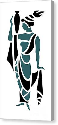 Greek Woman Holding Urn In Teal Canvas Print