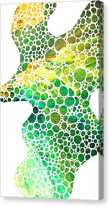 Female Canvas Print - Green Abstract Art - Colorforms 4 - Sharon Cummings by Sharon Cummings