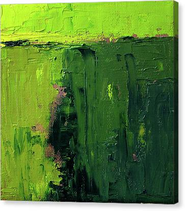 Canvas Print featuring the painting Green Abstract by Nancy Merkle