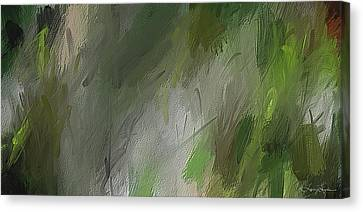 Green Abstract Wall Art Canvas Print by Lourry Legarde