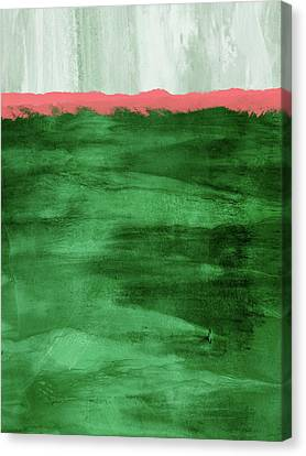 Contemporary Abstract Canvas Print - Green And Coral Landscape- Abstract Art By Linda Woods by Linda Woods