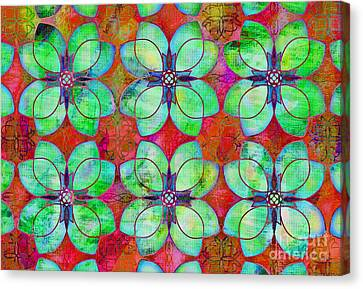 Green And Fuschia Floral Canvas Print by Mylinda Revell