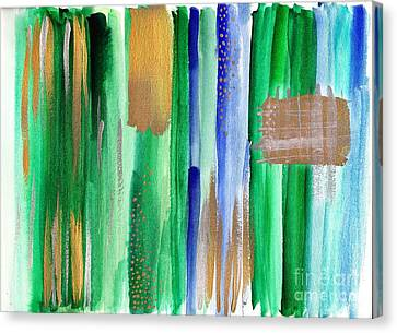 Green And Gold Abstract Painting Canvas Print by My Art