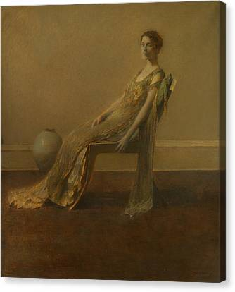 Portrait Of Woman Canvas Print - Green And Gold by Thomas Wilmer Dewing
