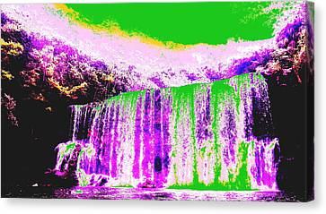 Green And Purple Waterfall Canvas Print by Erika Swartzkopf