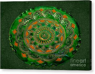 Sgraffito On Green And Terracotta Bowl  Canvas Print by Janette Boyd