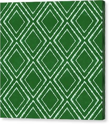 Batik Canvas Print - Green And White Inky Diamonds- Art By Linda Woods by Linda Woods