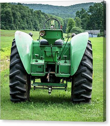 Green And Yellow Vintage Tractor Canvas Print by Edward Fielding