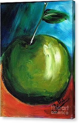 Canvas Print featuring the painting Green Apple by Jolanta Anna Karolska