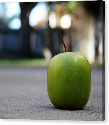 Green Apple- Photography By Linda Woods Canvas Print by Linda Woods