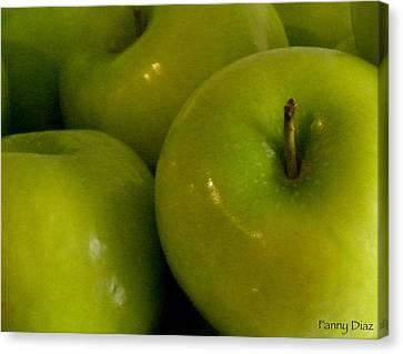 Green Apples 2 Canvas Print by Fanny Diaz