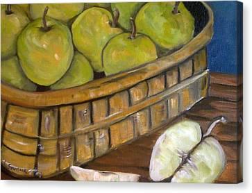 Green Apples Canvas Print by Leslie Spurlock