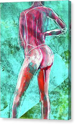 Canvas Print featuring the painting Green Back Figure No. 4 by Nancy Merkle