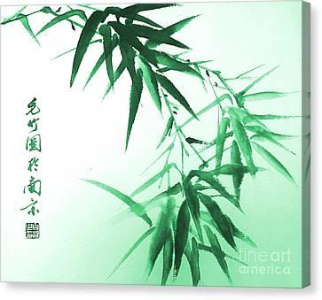 Green Bamboo Twig Canvas Print by Birgit Moldenhauer