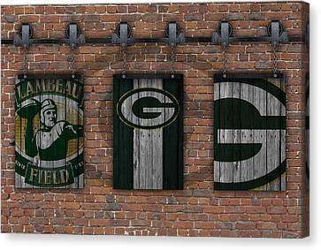 Green Bay Packers Brick Wall Canvas Print by Joe Hamilton
