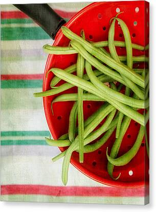 Green Beans Red Collander Canvas Print by Rebecca Cozart