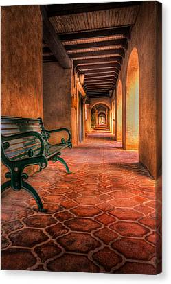 Green Bench And Arches Canvas Print