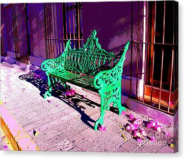 Green Bench By Michael Fitzpatrick Canvas Print by Mexicolors Art Photography