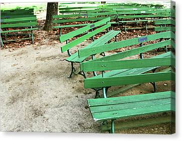 Relax Canvas Print - Green Benches- Fine Art Photo By Linda Woods by Linda Woods