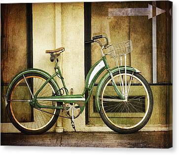 Green Bicycle Canvas Print