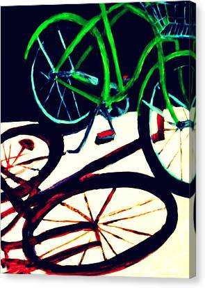 Green Bike And Shadow Canvas Print
