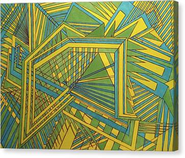 Green Blue Yellow Canvas Print by Modern Metro Patterns and Textiles