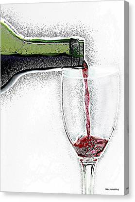 Green Bottle Red Wine Canvas Print
