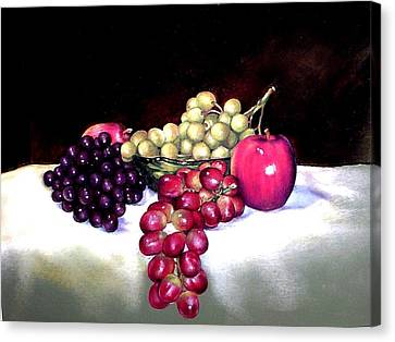 Green Bowl With Fruit Canvas Print by Mahto Hogue