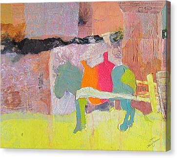 Green Burro Waiting Canvas Print