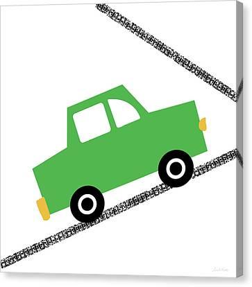 Juvenile Art Canvas Print - Green Car On Road- Art By Linda Woods by Linda Woods