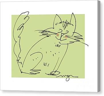 Green Cat Canvas Print
