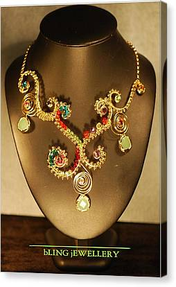 Green Chalcedony And Swarovski Crystal Wire Wrapped Necklace Canvas Print by Janine Antulov