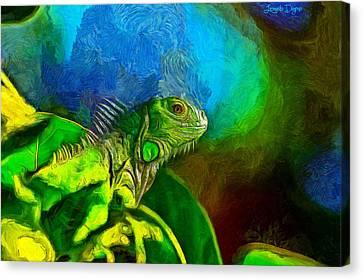 Green Chameleon - Da Canvas Print