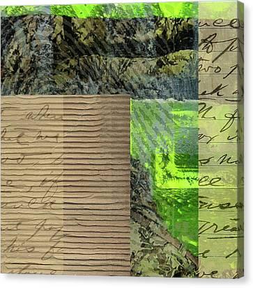 Cardboard Canvas Print - Green Collage No. 6 by Nancy Merkle