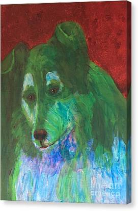 Canvas Print featuring the painting Green Collie by Donald J Ryker III