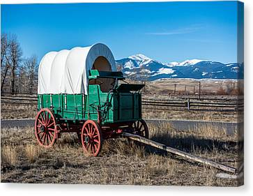 Green Covered Wagon Canvas Print by Paul Freidlund