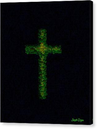 Green Cross - Palette Knife Style - Pa Canvas Print by Leonardo Digenio