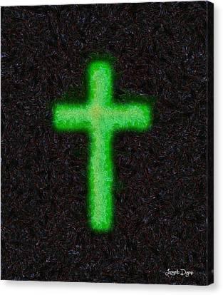 Lime Canvas Print - Green Cross - 'starry Night' Style - Da by Leonardo Digenio