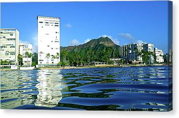 Green Diamond Head From The Water Canvas Print