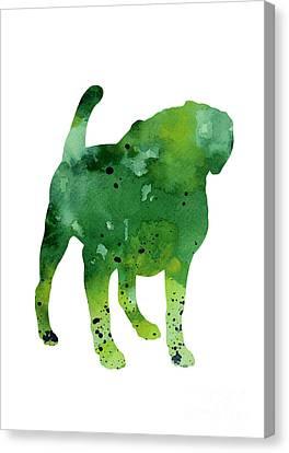 Green Dog Watercolor Poster Canvas Print by Joanna Szmerdt