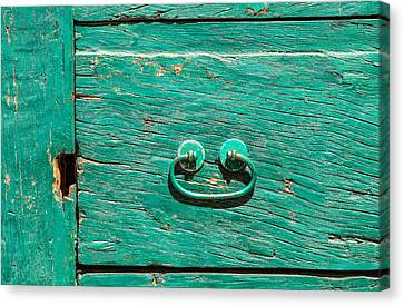 Green Door Handle Of Tuscany Canvas Print by David Letts