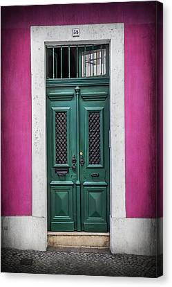 Green Door In Lisbon Canvas Print by Carol Japp