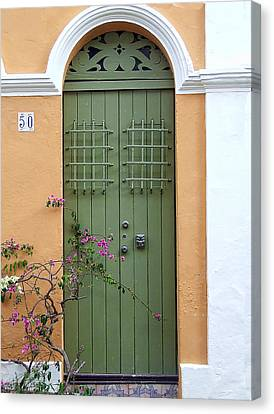 Green Door Canvas Print by John Rivera
