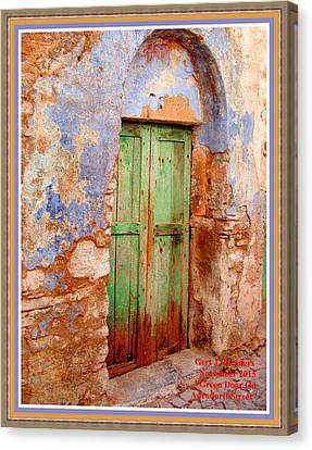 Green Door On Adendorff Street H A With Decorative Ornate Printed Frame. Canvas Print