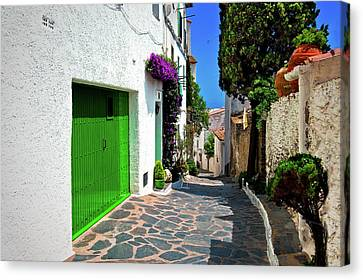 Canvas Print featuring the photograph Green Door Passage  by Harry Spitz
