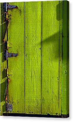 Green Door With Hinges  Canvas Print by Garry Gay