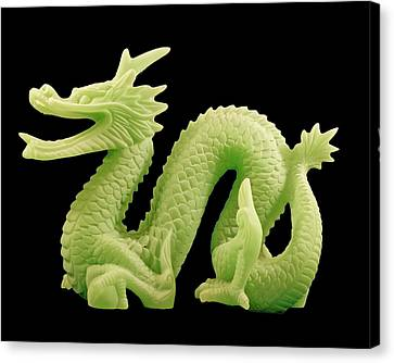 Canvas Print featuring the photograph Green Dragon On Black by Bill Barber