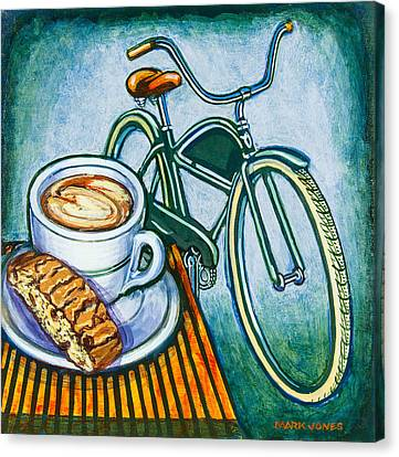 Capuccino Canvas Print - Green Electra Delivery Bicycle Coffee And Biscotti by Mark Jones
