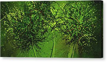 Green Explosions - Green Modern Art Canvas Print by Lourry Legarde