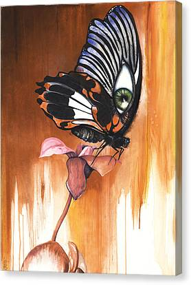 Canvas Print featuring the mixed media Green Eye Butterfly by Anthony Burks Sr
